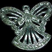 Rhinestones Silver Angel Figural Pin Brooch