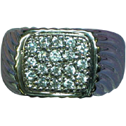 Vintage Men's Sterling CZ Stones  Ring