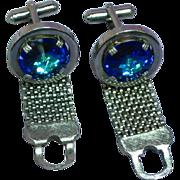 Blue Rivoli Rhinestone Silver Tone Metal Mesh Wrap Style Cufflinks
