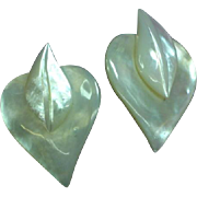 Beautiful Vintage Large Hand Carved Mother Of Pearl Heart with Curved Leaf Pierced Earrings