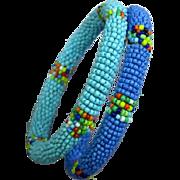 Vintage Seed Bead Bangle Bracelets