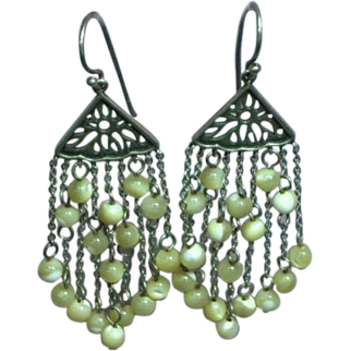 Sterling Silver Mother of Pearl Beads Chains Dangle Pierced Earrings