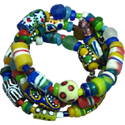 Authentic Antique African Ghanaian Tribal Trade Bead Bracelet
