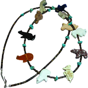 Native American Indian Turquoise Heishi Shell Carved Fetish Animal Sterling Silver Necklace