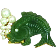 Jade Carved Fish Cultured Pearl Bubbles Pin Brooch