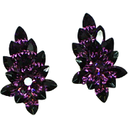 Vintage Purple Rhinestone Pierced Earrings