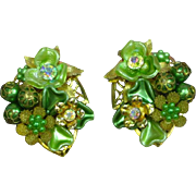 Beaujewels Signed Vintage Three Dimensional Greens Aurora Borealis Floral Motif Rhinestone Clip Earrings