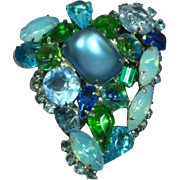Large Vintage Blue Green Turquoise Faceted Rhinestone Art Glass Pin Brooch