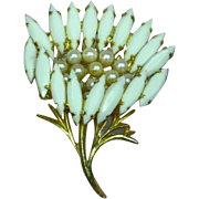 Milk Glass Rhinestones Faux Pearl Floral Brooch Pin