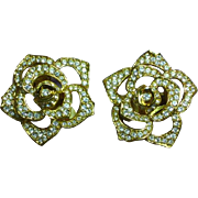 Vintage Elizabeth Taylor for Avon Rhinestone Large Rose Flower Clip Earrings