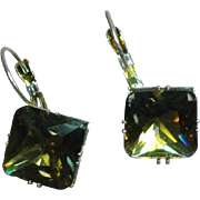 Large Glass Smoky Topaz Rhinestone Silver Tone Pierced Earrings