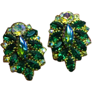 Sapphire Blue Emerald Green Glass Cabs & Rhinestones Clip Earrings