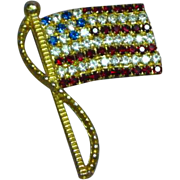 Rafaelian Signed Vintage American Flag Red White Blue Rhinestone Pin Brooch
