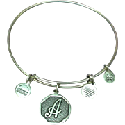 Sterling Silver Alex & Ani Signed Adjustable Charm Bracelet