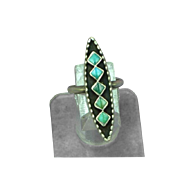 Native American Indian Fabulous Hand Made Sterling & Turquoise Inlay Vintage Estate Ring