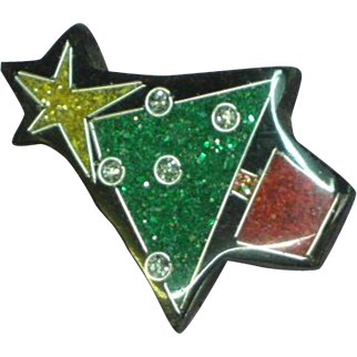 Black Plastic Inlay Glitter Christmas Tree Figural Pin Brooch