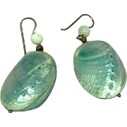 Baby Abalone Shell Dangle Pierced Earrings