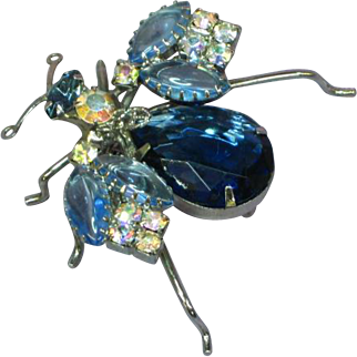 Gorgeous Large Blue Bug Winged Insect D&E Rhodium Plate Rhinestone Pin Brooch