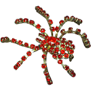 Red Rhinestones Large Spider Insect Pin Brooch