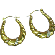 14K Yellow Gold Graduated Puffy Twist Spiral Ridged Patterned Diamond Hoop Pierced Earrings
