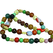 Massive Mixed Materials Glass Carved Buddha Old Large Bead Trade Bead Necklace