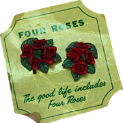 Four Roses Whiskey Promotional Advertising Composite Screw Back Earrings OOC