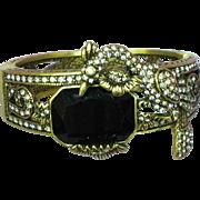 Signed Heidi Daus Retired Rhinestone Art Deco Style Jeweled Hinged Bangle Bracelet