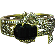 Signed Heidi Daus Retired Rhinestone Art Deco Style Jeweled Hinged Bangle Bracelet