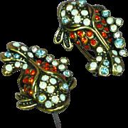 Heidi Daus Signed Retired Rhinestone Fish Figural Pierced Earrings