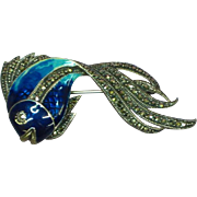 Majestic Sterling Silver Signed Marcasite Enameled Fish Figural Brooch Pin Pendant