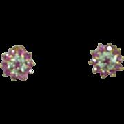 10k Yellow Gold Ruby Diamond  Halo Stud Pierced Earrings