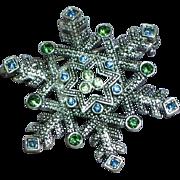 Vintage Silver tone Snowflake Blue Green Rhinestones Brooch Pin