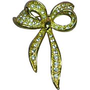Napier Signed Gold tone Rhinestone Bow Pin Brooch