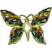 Beautiful Luminescent Enamel Ribbons Pearl Butterfly Pin Brooch