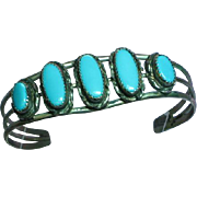 Native American Indian Navajo Signed Sterling Silver Sleeping Beauty Turquoise Bracelet