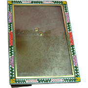 Vintage Italian Micro Mosaic  Picture Frame with Glass and Easel Back