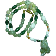 Rare Vintage Chinese  Translucent Carved Greens Nephrite All Jade Carved Fish Pendant Beads Necklace