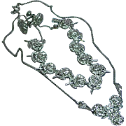 Exquisite Sterling Silver and Marcasite Vintage Rose Necklace Link Bracelet and Earrings Set Demi Parure