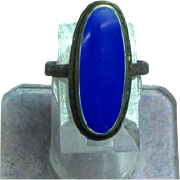 Lapis Lazuli Genuine Stone Filigree  Estate Sterling Silver Ring