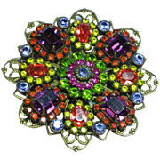 Liz Paiacios SF Signed Gorgeous Kaleidoscope Crystal Rhinestone Filigree Antiqued Brass Vintage Brooch Pin.
