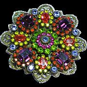 Liz Paiacios SF Signed Gorgeous Kaleidoscope Crystal Rhinestone Filigree Antiqued Brass Vintage Brooch Pin.