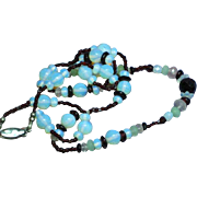 Opaline Opalite Faceted Bead Vintage 50's Garnet Necklace
