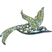 Sarah Coventry Signed Bird of Paradise Rhinestone  Figural Vintage Silver Pin Brooch