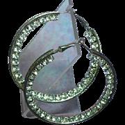 Fabulous Large Rhinestone Studded Silver Hoop Pierced Earrings