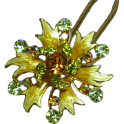Vintage Gold Plated Enamel Rhinestone Hair Stick Comb