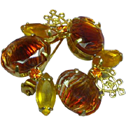 Givre Topaz Art Glass Rhinestone Pin Brooch