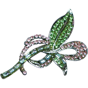Glittering  Gorgeous Vintage Pastel Rhinestone Pave Flower Pin Brooch