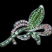 Glittering  Gorgeous Vintage Pastel Rhinestone Pave Flower Pin Brooch