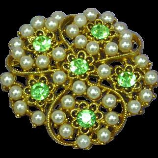 Rhinestones Peridot and Faux Pearl 3-D Pin Brooch