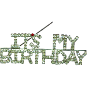 Rhinestone It's My Birthday Silver Rhodium Plate Pin Brooch